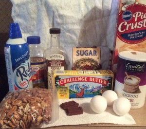 December - Chocolate Pecan Pie (Ingredients)